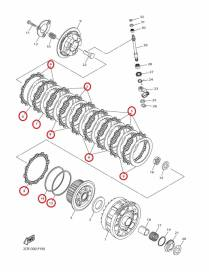 Clutch kit discs Yamaha YZF-R1 2015 to 2020