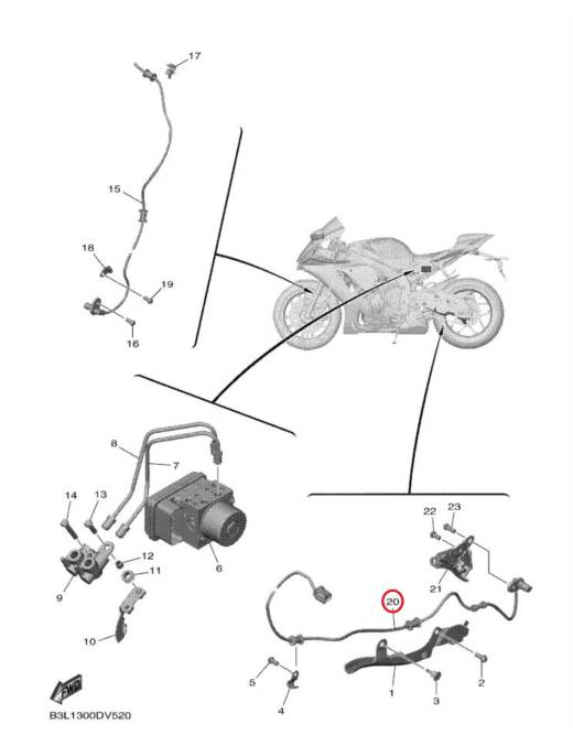 Sensor rear wheel Yamaha YZF-R1 15/20 + MT-10 16/20