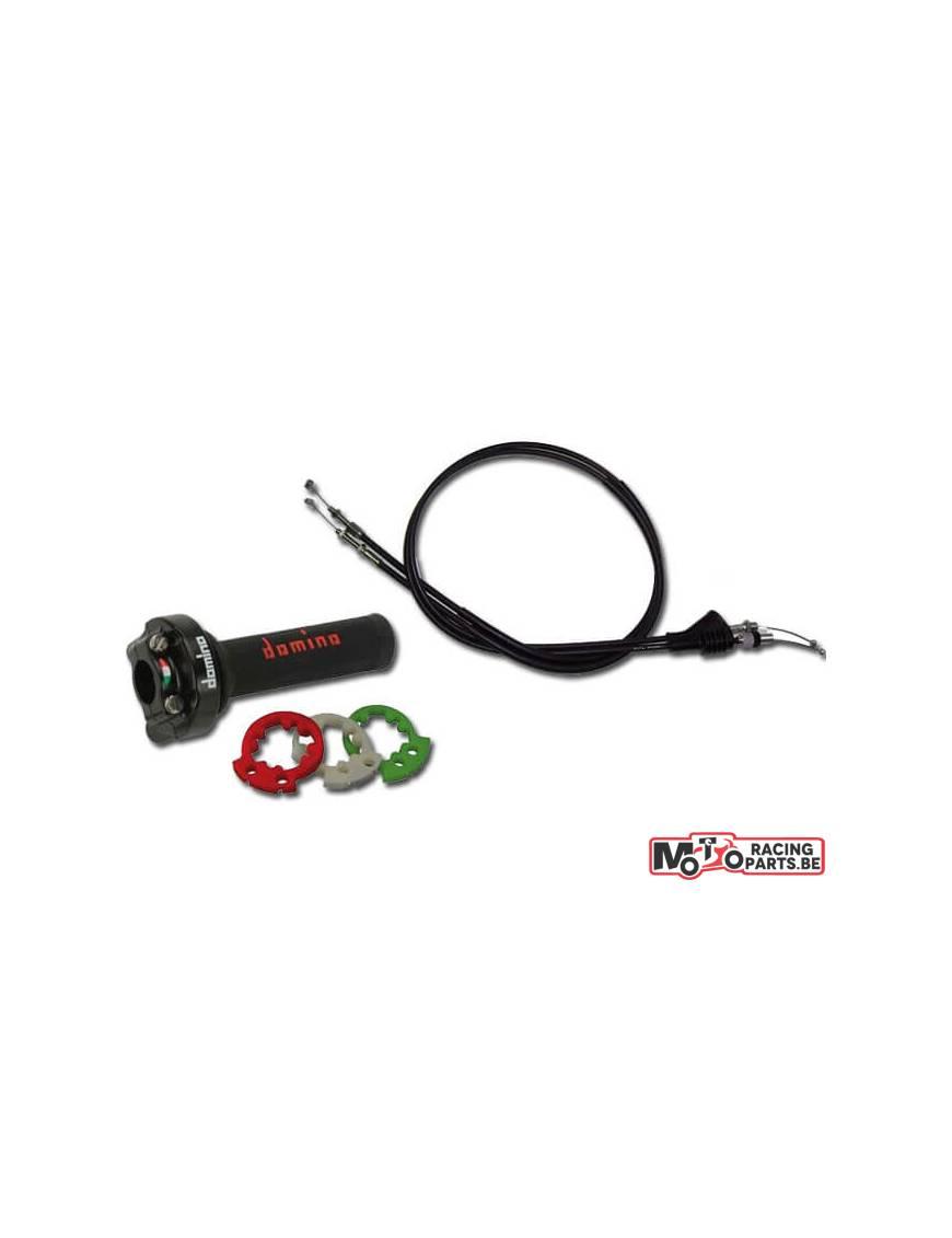 Poignée de gaz Domino Racing XM2 + kit cables de gaz Universel